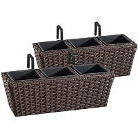 Jardinera para balcón de polyrattan Incluye suspensión y 3 Insertos plásticos, Mocca, 2 Piezas, 47 x 17 x 15 cm