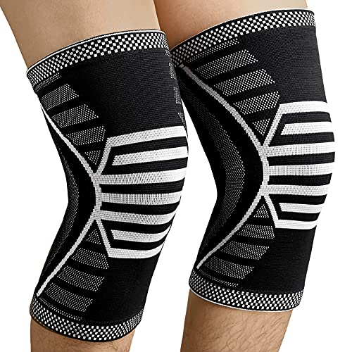 NEENCA 2 Pack Knee Brace,Compression Knee Sleeve Support for Men & Women,Running,Arthritis,ACL,Joint Pain Relief,Meniscus Tear,Knee Pain Recovery,Sports - Pair Wrap