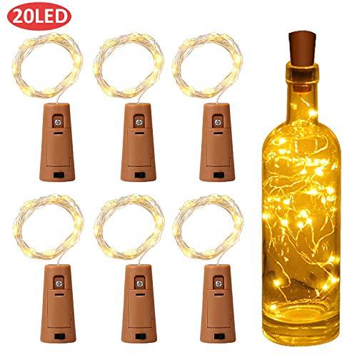 Yizhet LED fles licht batterij lichtslingers 2M 20LED fles licht kurk, YD glas kurk licht koperdraad lichtslingers voor fles DIY, decor, Kerstmis (6 stuks, warm wit)