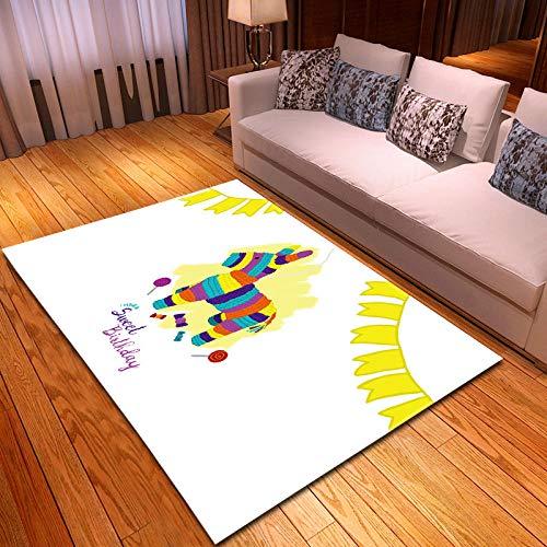 BSZHCT Alfombra De Salón Burro Animal de Dibujos Animados de Color Alfombra Pelo Corto Antideslizante Dormitorio Cuarto de los niños Fácil de Manejar 80x160 cm