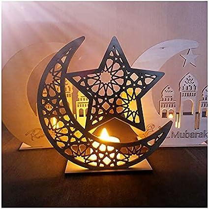 Poitemsic Islamic Moon Book Art Table Crafts with Tea Candle Light Eid Muslim Mubarak Ramadan Gift Islamic Room Table Decoration