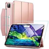 ESR iPad Pro 11 ケース iPad Pro 11 インチ 2020 & 2018モデル 強化ガラスフィルム付き  イッピー三つ折りスマートケース 留め具付き