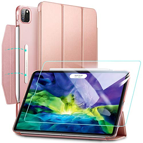 ESR Case for iPad Pro 11 (2020 & 2018) with Tempered-Glass Screen Protector,Yippee Trifold Smart Case with Auto Sleep/Wake,Lightweight Stand Case with Clasp, Hard Back Cover, Rose Gold