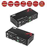 AV Access UltraHD Fiber Fibre HDMI 2.0 Extender 18Gbps 4K@60Hz YUV4:4:4 Over 10G OM3 Multi-Mode Optical Transmission up to 300M, HDCP 2.2 Compliant, DIP for Bidirectional IR/RS-232, HDR10, Dolby/DTS