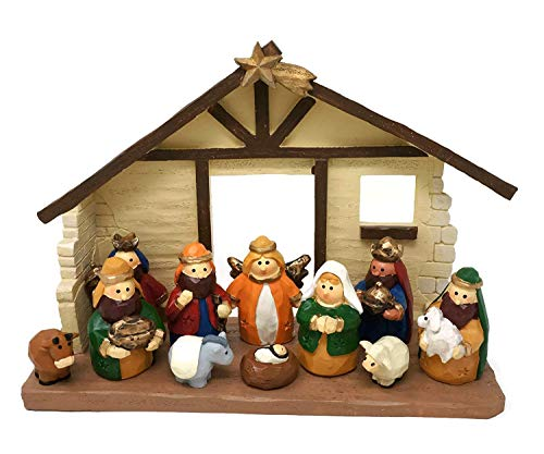 One Holiday Way Medium Size Kids Christmas Nativity Scene with Creche, Set of 12 Figures