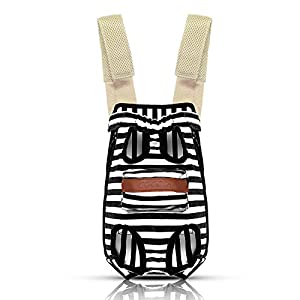 COODIA Legs Out Front Pet Dog Carrier Front Chest Backpack Pet Cat Puppy Tote Holder Bag Sling Outdoor (S, Color Black)