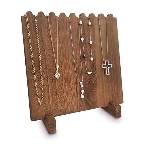 Mooca Wooden Plank Necklace Jewelry Display Stand for 8 Necklaces, Necklace Display Holder, Wood Plank Necklace Display Stand, Necklace Storage Holder, Jewelry Display Stand, Brown Color
