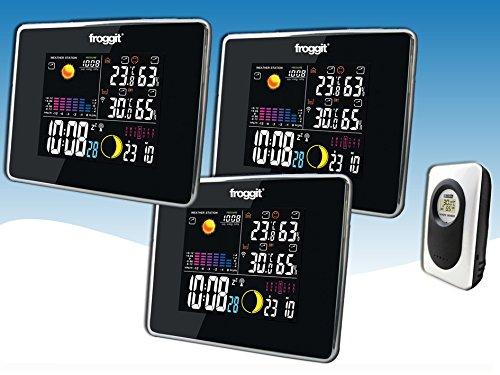 froggit Funk Farb Wetterstation WS50 Triple (3 Displays) inkl. 1 Funk Thermo-Hygrometer Außensensor, Wettervorhersage, Funkuhr, Temperatur, Luftfeuchte