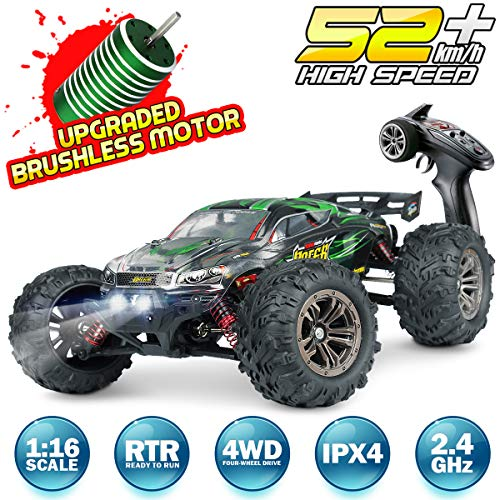 Hosim RC Car 1:16 Scale 2847 Brushless Remote Control RC Monster Truck , All Terrain 4WD High Speed 52KM/h Off-Road Waterproof/Shockproof/Anti-Skid 2.4G Radio Controlled RTR Hobby Car(Green)