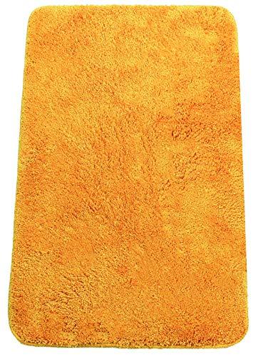 Brandseller - Alfombra de baño moderna de chenilla en estilo tupido, color crema, verde, turquesa, burdeos, gris y pardo, aprox. 50 x 70 cm, poliéster, naranja, 50 x 80 cm