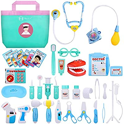 NextX Kids Doctor kit, Toddler Pretend Dress up Play Set Games Learning and Education for 1-3 Years Old, 38 pcs Toy Medical Kits with Stethoscope, Doc Coat, Gifts Dentist kit for Boys and Girls by NextX
