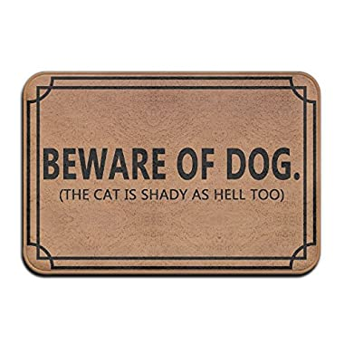 Beware Of Dog The Cat Is Shady As Hell Too Cool 15.7 X 23.6 In Absorbent Anti Slip Floor Rug Coral Carpet Funny Doormat Funny Door Mat Funny Doormats Quote Doormat Unique Doormat Funny Mat