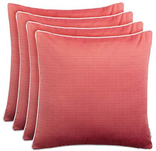 Brandsseller Utomhus trädgård kudde dekorativ kudde linne utseende strukturerad smutsavvisande och vattenavvisande med dragkedja ca 45 x 45 cm 4 fördelaktig förpackning röd