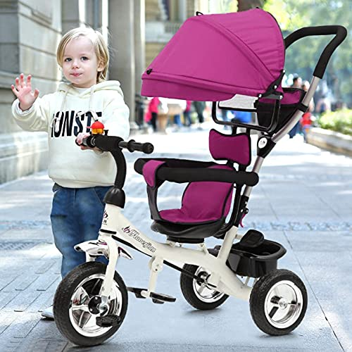 ZHIJIE 2-in-1 Red Trike Stroller with Handle, Baby Trike Bike with Folding Pedals with Basket and Front Wheel Clutch for Safe, Detachable Canopy Pushing Handle Ride-on Trike (Purple)