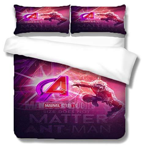 NBAOBAO Avengers Ant-Man Supereroe, set copripiumino in microfibra per ragazzi e ragazze, morbido e confortevole (Ant-Man03, Double200 x 200 cm)
