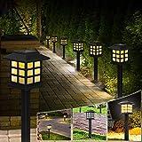 Molbory Solarleuchte Garten, 6 Stück LED Solarlampe Bahn Lichter Außenleuchte Warmweiße Wasserdicht Lichteffekt Solar Wegeleuchte Dekoration Licht für Terrasse Rasen Garten Hinterhöfe