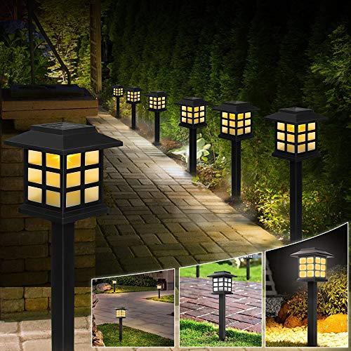 6 Pezzi Lanterna a Energia Solare Luci Giardino Vintage Faretti Solari Esterno Luce Solari Giardino Esterno IP44 Impermeabile Luci da Esterno Solare Faretti Solari da Giardino Luce Solare Bianca Calda