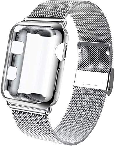Mediatech Ersatzarmband Kompatibel mit Apple Watch Armband 38mm 40mm 42mm 44mm mit Display Schutzhülle Edelstahl-Armband Wechselarmband mit Case, Kompatibel für iWatch Series 6/5/4/3/2/1 SE