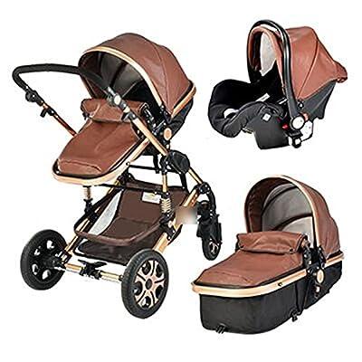 HZPXSB 3 en 1 Cochecito de bebé High Landscape Baby Stroller Cesta para Dormir Carro Europa 2 en 1 Pramo recién Nacido con Asiento de automóvil (Color : Coffee PU)