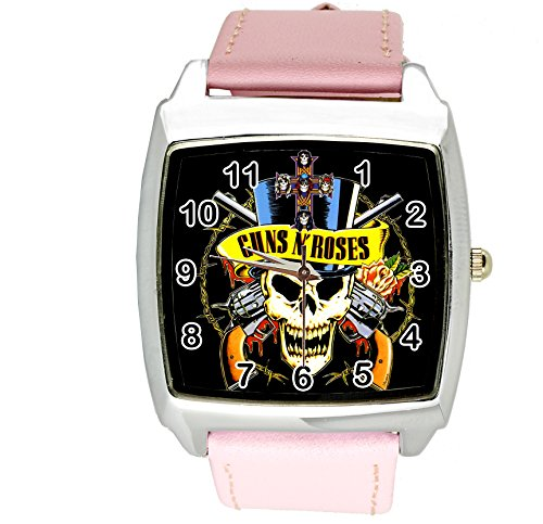 Guns N Roses (taport® cuarzo cuadrado Watch Color Rosa Real piel banda + libre batería de repuesto + libre bolsa de regalo