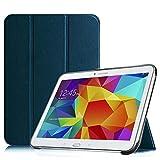 Fintie SlimShell Funda para Samsung Galaxy Tab 4 10.1' - Súper Delgada y Ligera Carcasa con Función de Soporte y Auto-Reposo/Activación para Modelo SM-T530/T535, Azul Oscuro