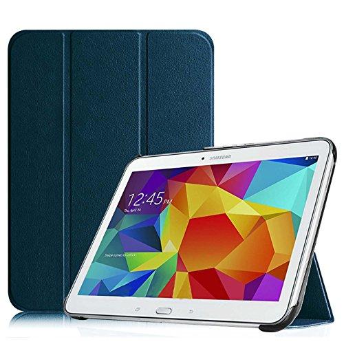 Fintie SlimShell Funda para Samsung Galaxy Tab 4 10.1 - Súper Delgada y Ligera Carcasa con Función de Soporte y Auto-Reposo/Activación para Modelo SM-T530/T535, Azul Oscuro