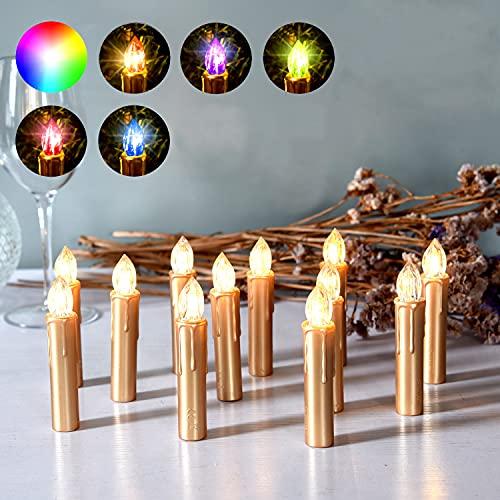 CCLIFE LED Weihnachtskerzen Kabellos RGB Kerzen Bunt Weihnachtsbaumkerzen Christbaumkerzen mit Fernbedienung Timer Kerzenlichter, Farbe:Rot, Größe:20er