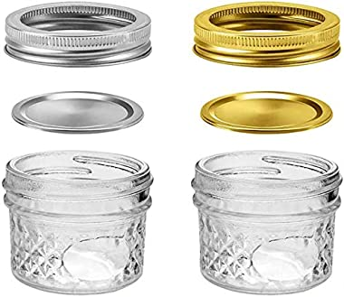 SnailBrother 4 Oz Mini Mason Jars Bundle - 12 Pack Crystal Glass Jar with Lids and Bands, Small Glass Container for Overnight