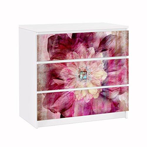 Vinilo adhesivo para muebles IKEA - Malm Dresser 3xDrawers - Grunge Flower, Größe:3 mal 20cm x 80cm