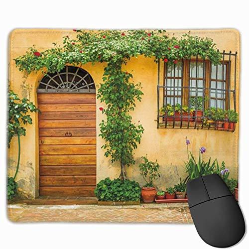 Muismat, muismat, Italië veranda met verschillende bloempotten, frisse groene planten, stadsleven in Toscane, standaardgrootte groen bruin