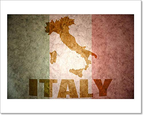 Barewalls Vintage Italy Flag Paper Print Wall Art (8in. x 10in.)