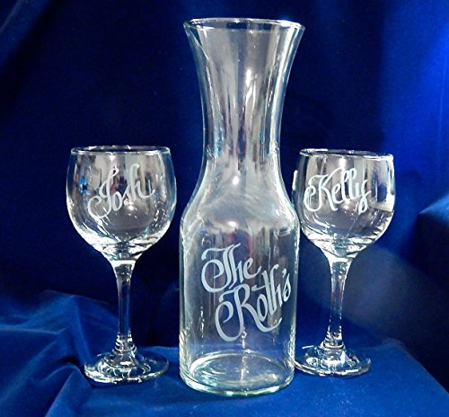 Personalized Wine Decanter with two 10 oz wine glasses