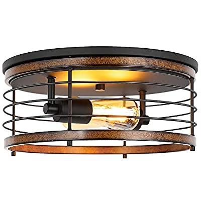 2 Lights Flush Mount Ceiling Light Fixture, Cylindrical Metal Imitation Wood Ceiling Lamp, Industrial Farmhouse Ceiling Light for Hallway, Entryway, Bedroom, Balcony