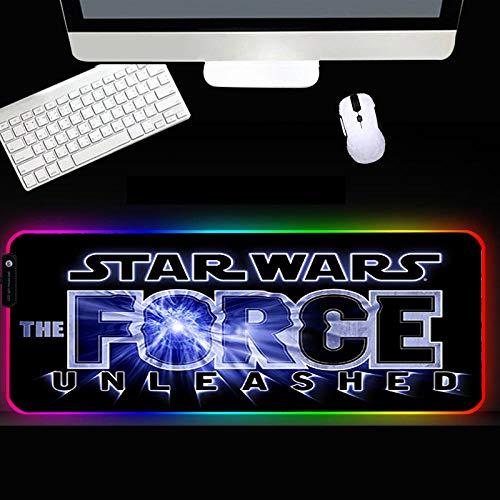 XIAOYANG Alfombrilla de goma RGB para ratón, accesorios para gamer, alfombrilla grande LED, para videojuegos, XXL, con retroiluminación para ordenador portátil, 400 x 800 x 4 mm, estilo XC