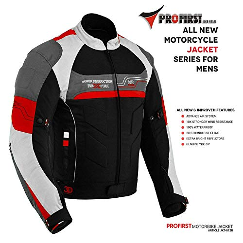 Motorrad Motorradjacken für Herren Sportzubehör Allwetter New Look Jacke aus Cordura-Stoff mit abnehmbarer CE-Rüstung, 100% beste Passform für Motorradfahrer (Rot, M)