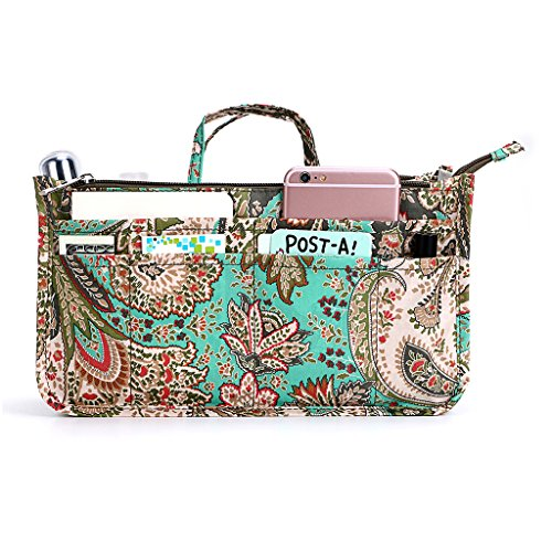BTSKY New Printing Handbag Organizers Inside Purse Insert-High Capacity 13 Pockets Bag Tote Organizer with Handle Peacock Flower
