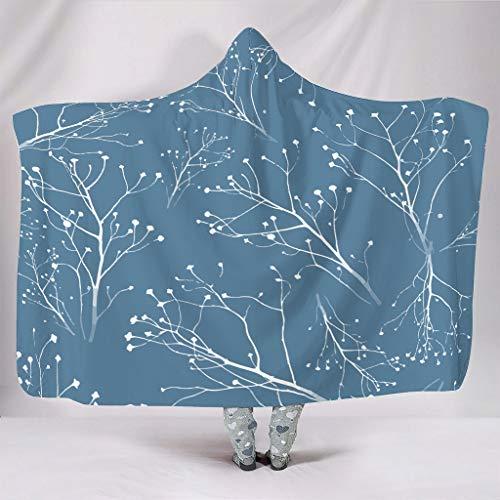 WJunglezhuang Blaue Zweige Soft Blanket Microfaser Tagesdecke Decke für Erwachsene und Kinder White 130x150cm