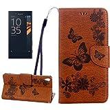 Accessoires de téléphone portable Pour Sony Xperia XA Ultra Papillons Gaufrage Horizontal Housse...