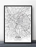 ZWXDMY Leinwand Bild,Frankreich Lyon Stadtplan Schwarz