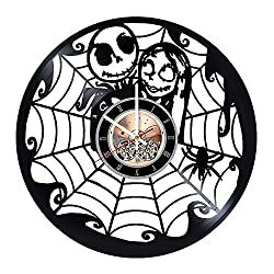 Nightmare Before Christmas Dark Figure Vinyl Record Wall Clock - Home room or Living Room wall decor - Gift ideas for siblings, children - Movie Unique Art Design