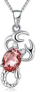 PLATO H Zodiac Constellation Necklace, Crystals from Swarovski, 12 Zodiac Horoscope Charms Crystal Pendant Necklace Jewelry, Birthday Birthstone Gifts for Women, 20