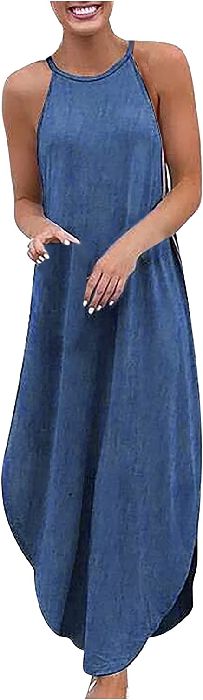 Maxi Dress Women's Loose Plus Size Denim Sleeveless Solid Color Vest Long Dress Maxi Skirt Boho Floral Elegant Sexy bea