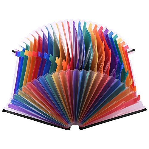 Kstyhome 24 Bolsillos Carpeta de archivos expandible Organizador de archivos Accordian Organizador de documentos de tamaño carta A4 Color del arco iris para la escuela de la oficina en casa