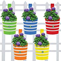 TrustBasket Round Ribbed Railing Planters (Multicolour, Pack of 5)