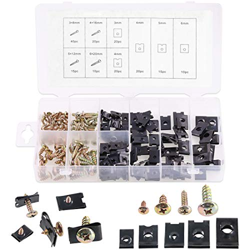 Glarks 170Pieces U-Clip and Screw Assortment, 5 Size U-Style Clip-On Nut with Mounting Screws Kit for Securing Wires and Cables