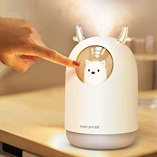 AmuseNd Portable USB Cool Mist Humidifier, 300ML Mini Atomization Humidifier with 7 Kinds of LED Light Conversion, Desktop...