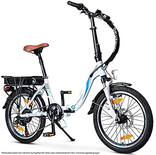 "BLUEWHEEL 20"" klappbares E-Bike I Deutsche Qualitätsmarke I Shimano 7 Gang-Schaltung I EU-konform Klapprad mit App + 250 W Motor + Batterie abnehmbar | Electric Bike 25 km/h bis zu 150 km | BXB55"