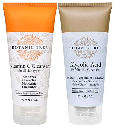Botanic Tree Double Cleanse With Glycolic Acid Exfoliator Face Wash And Vitamin C Cleanser for All Types of Skin