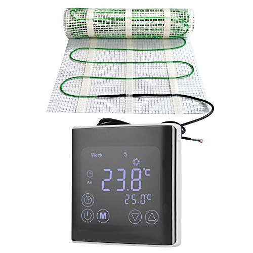 Calefacción eléctrica de suelo radiante, 200 vatios por m², termostato WIFI Touch, negro, tecnología TWIN JWS diferentes tamaños, tamaño (m²): 2 m²