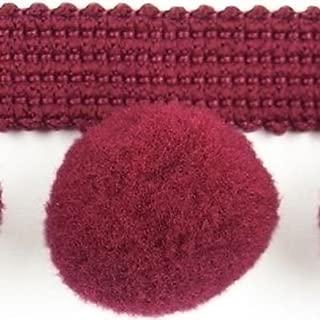 HomeBuy 11 Yards Reel - XL Pom Pom Bobble Trim Fringe Trimming - XL Size 0.8 Inches - Burgundy C